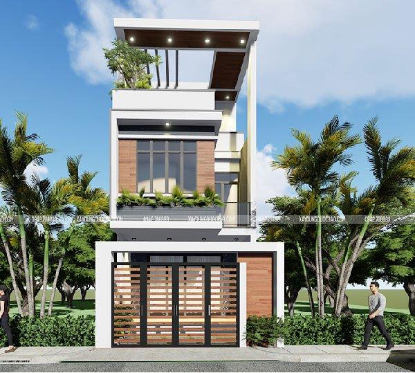 Thiết kế nhà phố 1 trệt 1 lầu 1 tum xu hướng nhà trong tương lai