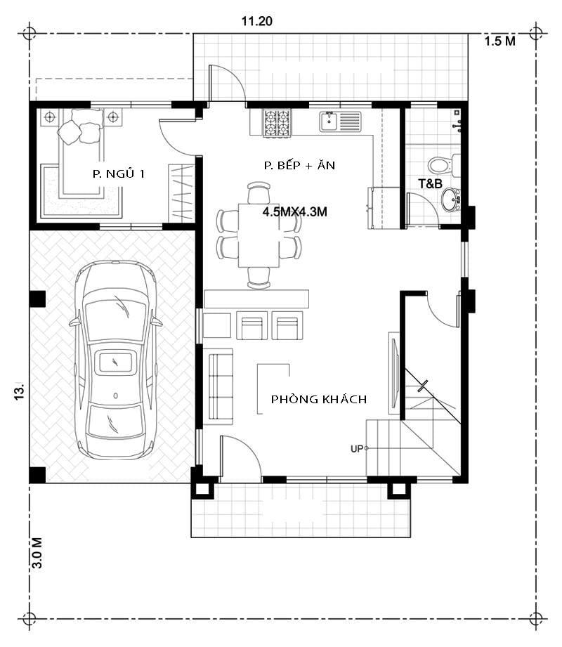 Biệt thự 2 tầng hiện đại