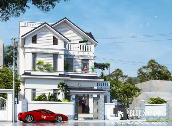 Mẫu biệt thự 3 tầng mái thái hiện đại năm 2021 trên đất 15x20m